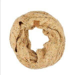 Confetti knit cable C.C infinity scarf color Latte